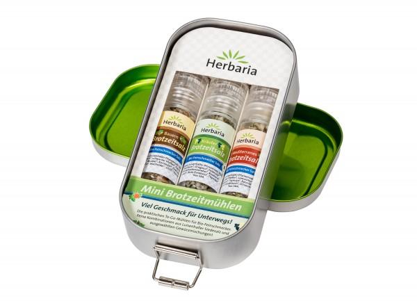 Herbaria Lunchbox mit 3 Mini-Brotzeitmühlen BIO